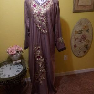 Dresses & Skirts - Abaya light brown with gold burgundy embroidery